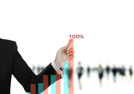 financial gains: hand business graph