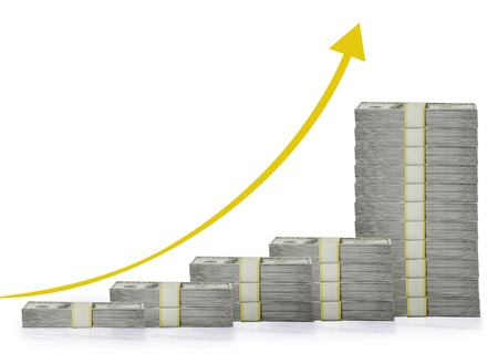 upward graph: Graph with dollar  Stock Photo