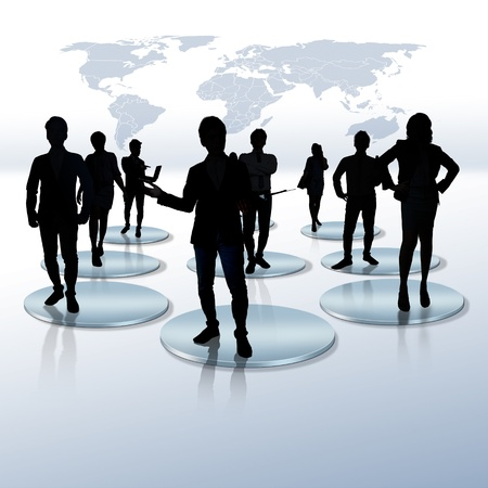 virtual community: worker standing on a virtual connection, network  Stock Photo