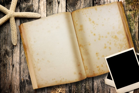 open note book on wood photo