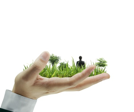 person holding a business, on hand  photo