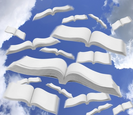 poetic: Books fly to the sky