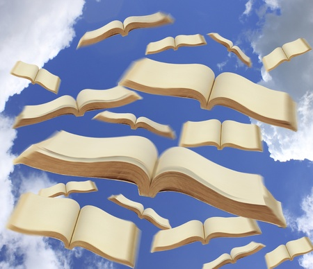 Books fly to the sky photo