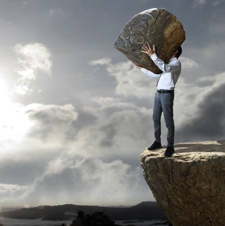 business activity: Rock throw down a cliff