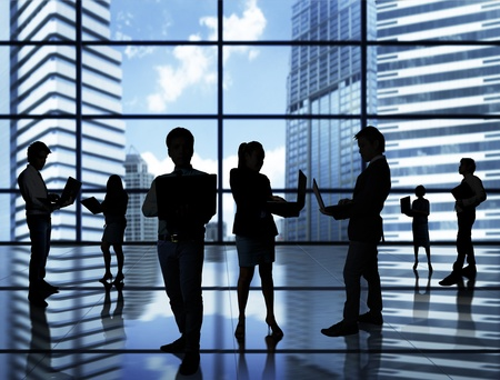 business resources: business people team with world  Stock Photo