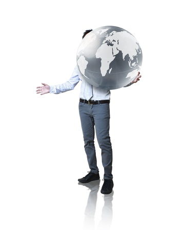businessman holding glowing earth in the hand photo