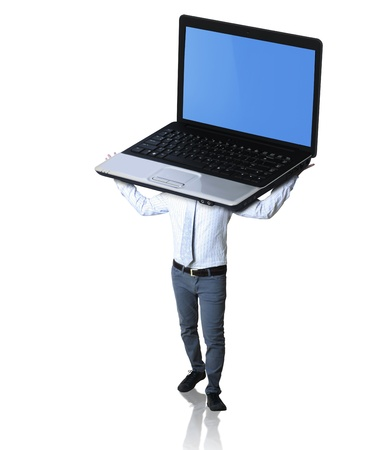 looking at computer screen: man holding laptop over his head on white background