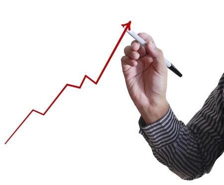 Homme main de dessiner un graphe Banque d'images - 10136435