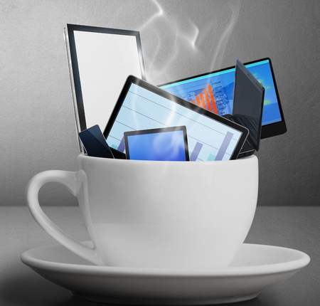 Idea of technology in the coffee cup  photo