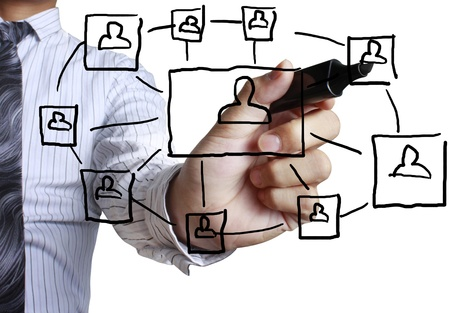сеть: рисования социальную структуру сети в доску Фото со стока