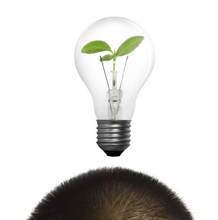 Man Having an Idea. Light bulb  photo