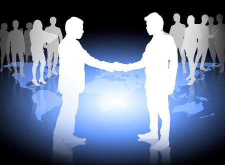Silhouettes of business partners ,Shake  photo