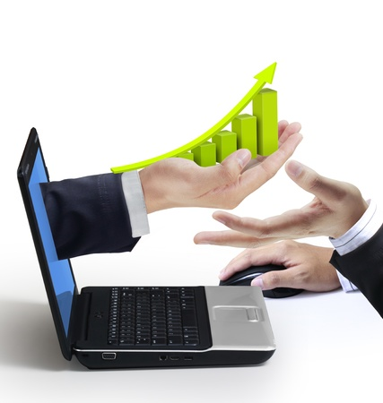 banking information: Hand reaches Graph out of an Laptop