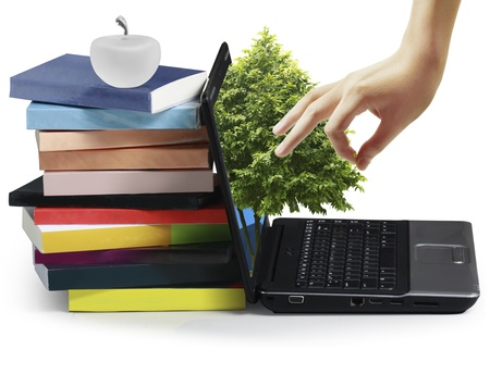Books with a laptop photo