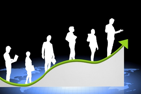 population growth: business people on a graph