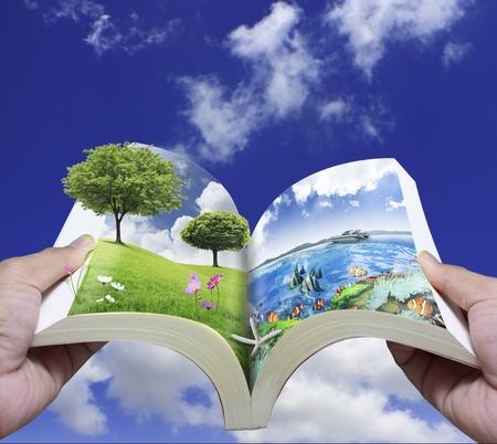 background waterfalls: Open book Stock Photo