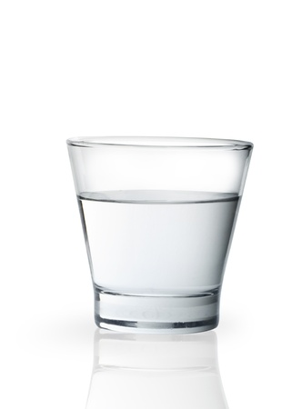 glass half full: Glass of water isolated on white background  Stock Photo