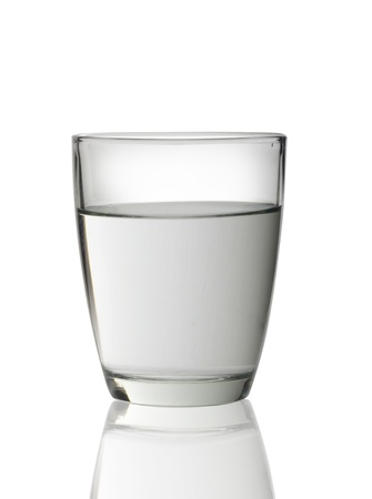 Glass of water isolated on white background  photo