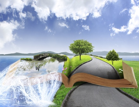 open concept: Open book with nature