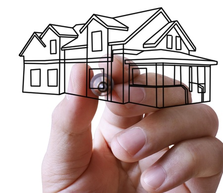 ownerships: hand drawing house in a whiteboard