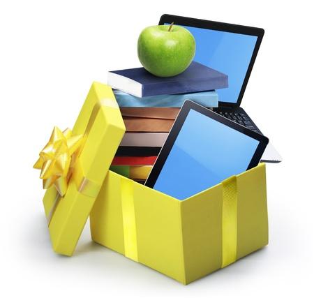 open yellow gift box  photo