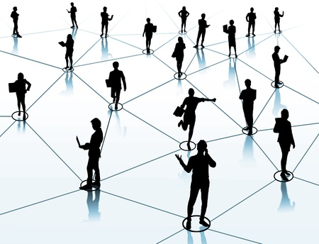 virtual: worker standing on a virtual connection, network  Stock Photo
