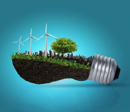 energia eolica: Idea, l�mpara de luz Foto de archivo