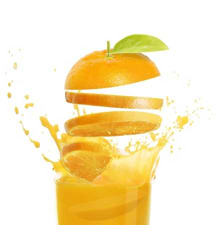 orange splash: orange juice  Stock Photo
