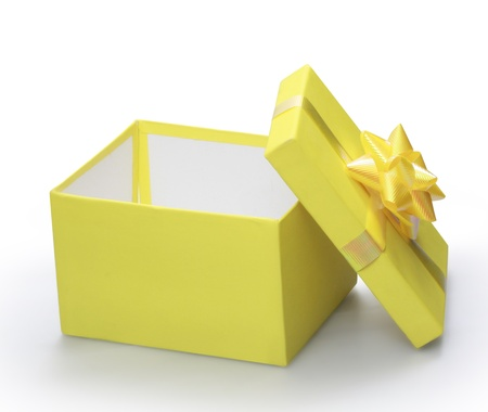 open present: open yellow gift box