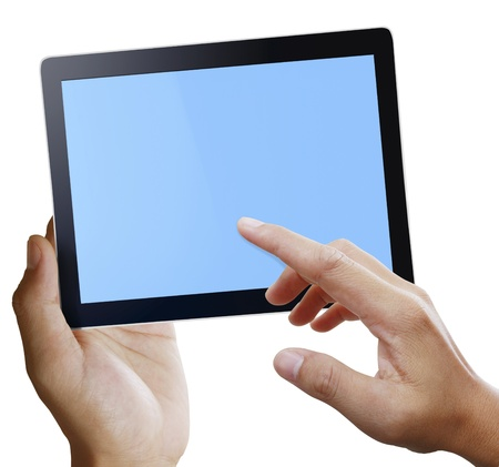 Man hands are pointing on touch screen Stock Photo - 11236600