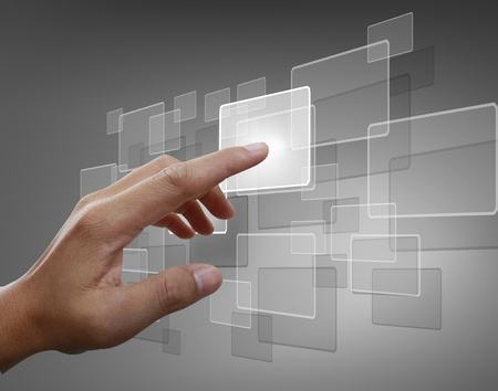 hightech: hand pushing on a touch screen interface