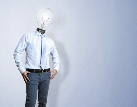 Businessman , light bulb head  photo