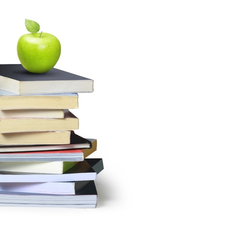science lesson: books and apple