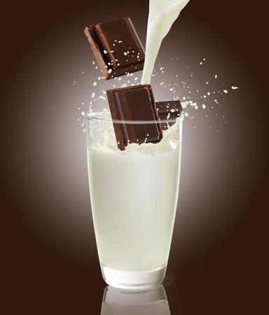 chocolate with milk: milk and chocolate  Stock Photo