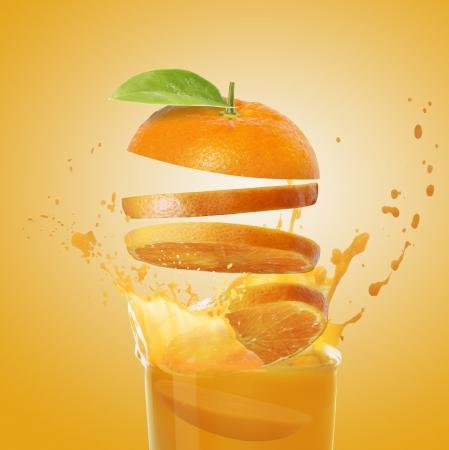 succo di frutta: succo d'arancia Archivio Fotografico