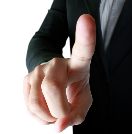 simulating: Hand simulating pressing a button