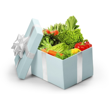 open gift box With vegetables  photo