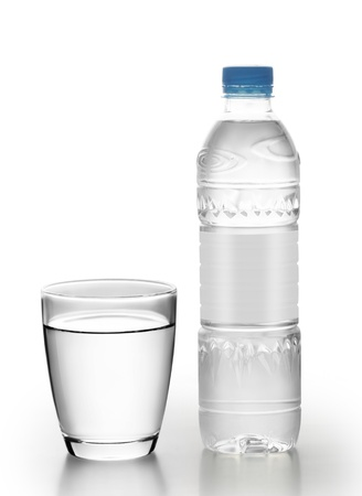quench: Bottle of water with glass