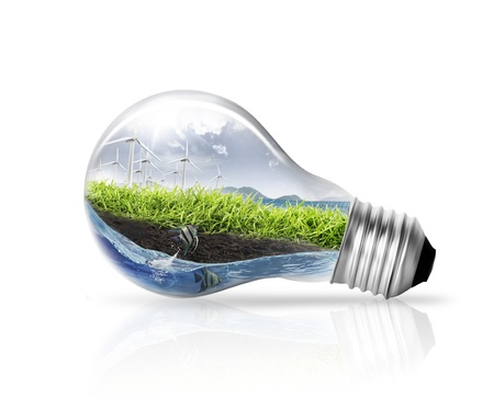 sustainable energy: good idea with light bulb on white background
