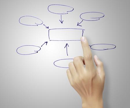 Male hand touching a graph photo