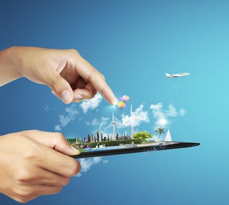 concept: touch pad concepto con el fondo azul Foto de archivo