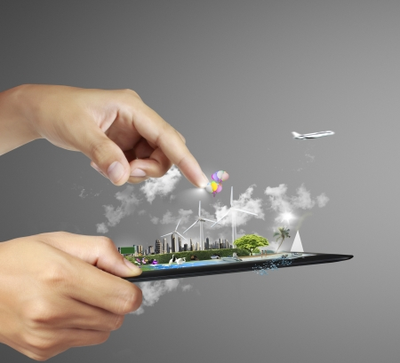 conexiones: touch pad con el concepto de fondo gris Foto de archivo