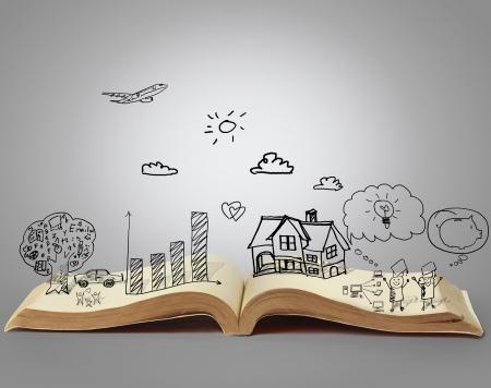 lectura y escritura: libro de historias de fantas�a Foto de archivo