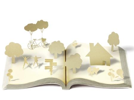 open book icon: Open book on white background Stock Photo