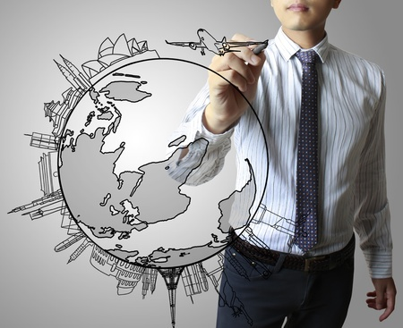 asia map: drawing the air on a whiteboard Stock Photo