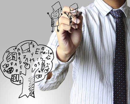 teacher cartoon: writing something on glass board , Education