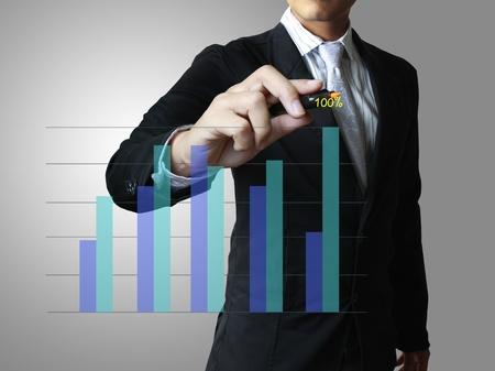 verhogen: bedrijfsleven hand te drukken op een grafiek