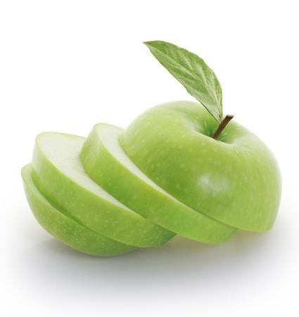 half an apple: green apple  Stock Photo