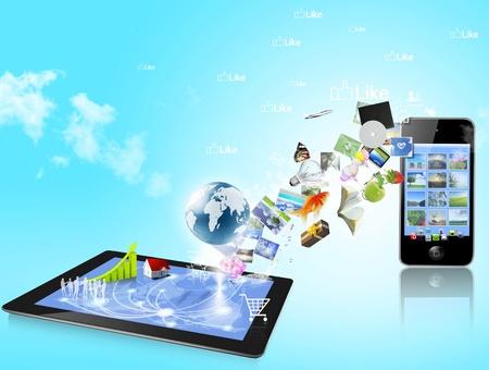 Tablet PC y el teléfono inteligente con pantalla táctil