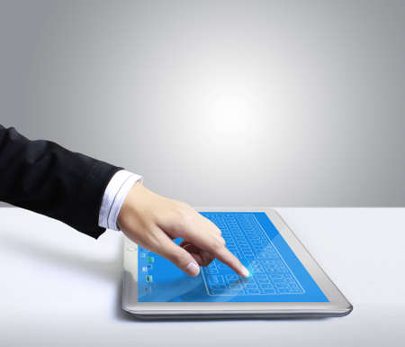 hands are pointing on touch screen ,touch-pad Stock Photo - 12811939